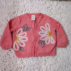 Gymboree Pink Floral Cotton Zip Cardigan - 12-18m